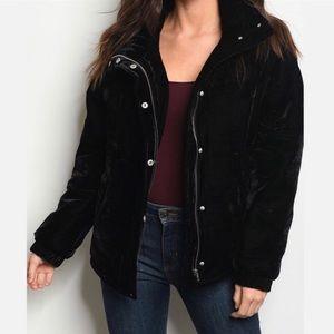 Black Velvet Puffer Jacket